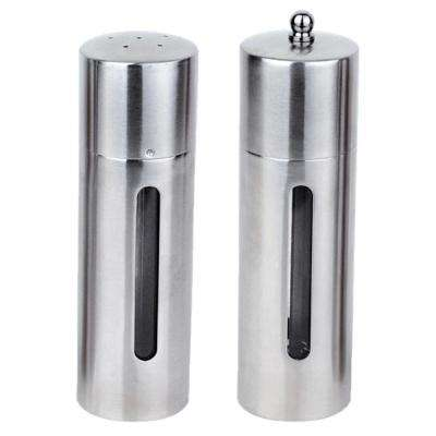Essentials Stainless Steel Salt Cellar and Pepper Mill Set