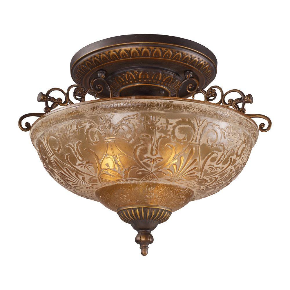 3-Light Golden Bronze Ceiling Semi-Flush Mount Light