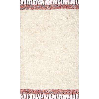 Solid Tassel Lane Shag Cream 8 ft. x 10 ft. Area Rug