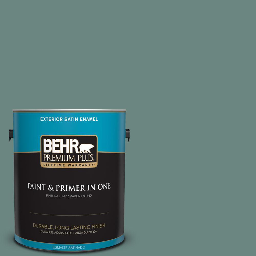 BEHR Premium Plus 1-gal. #480F-5 Marsh Creek Satin Enamel Exterior Paint