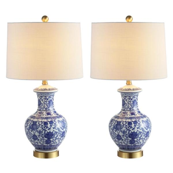 Jennifer 25.25 in. Blue/White Ceramic/Metal LED Table Lamp (Set of 2)