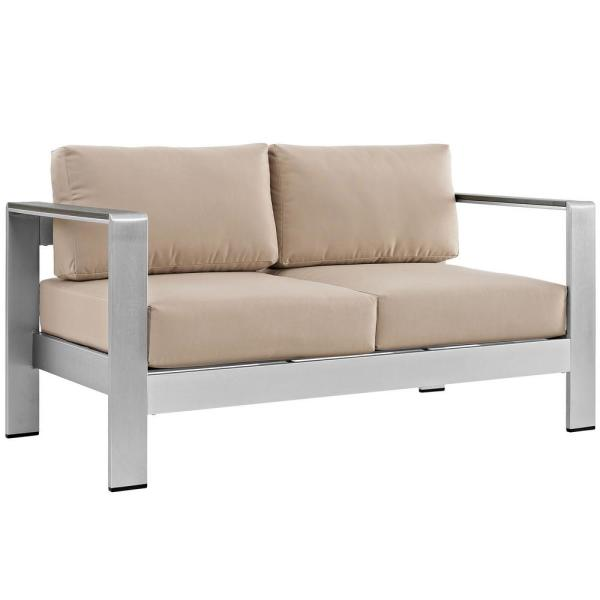 Shore Aluminum Patio Outdoor Loveseat in Silver with Beige Cushions