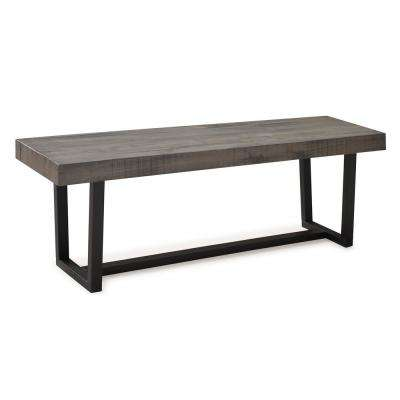 60 in. Grey Industrial Farmhouse Rustic Transitional Distressed Solid Wood Entryway Dining Bench