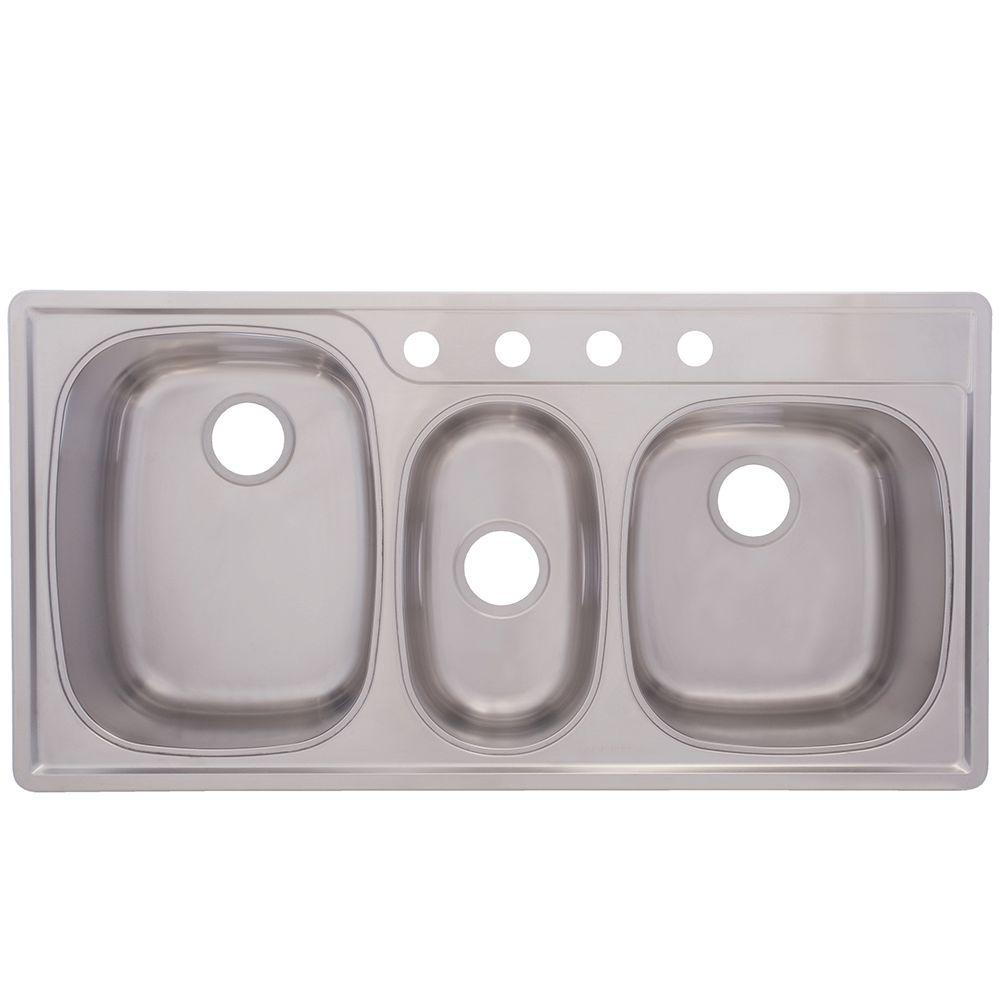 FrankeUSA Drop-In Stainless Steel 43x22x9.5 4-Hole Triple Basin Kitchen Sink
