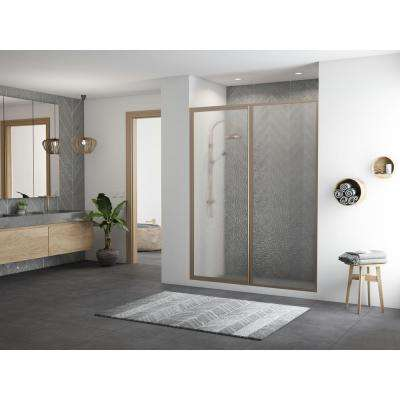 Legend 54.5 in. to 56 in. x 66 in. Framed Hinge Swing Shower Door with Inline Panel in Brushed Nickel with Obscure Glass