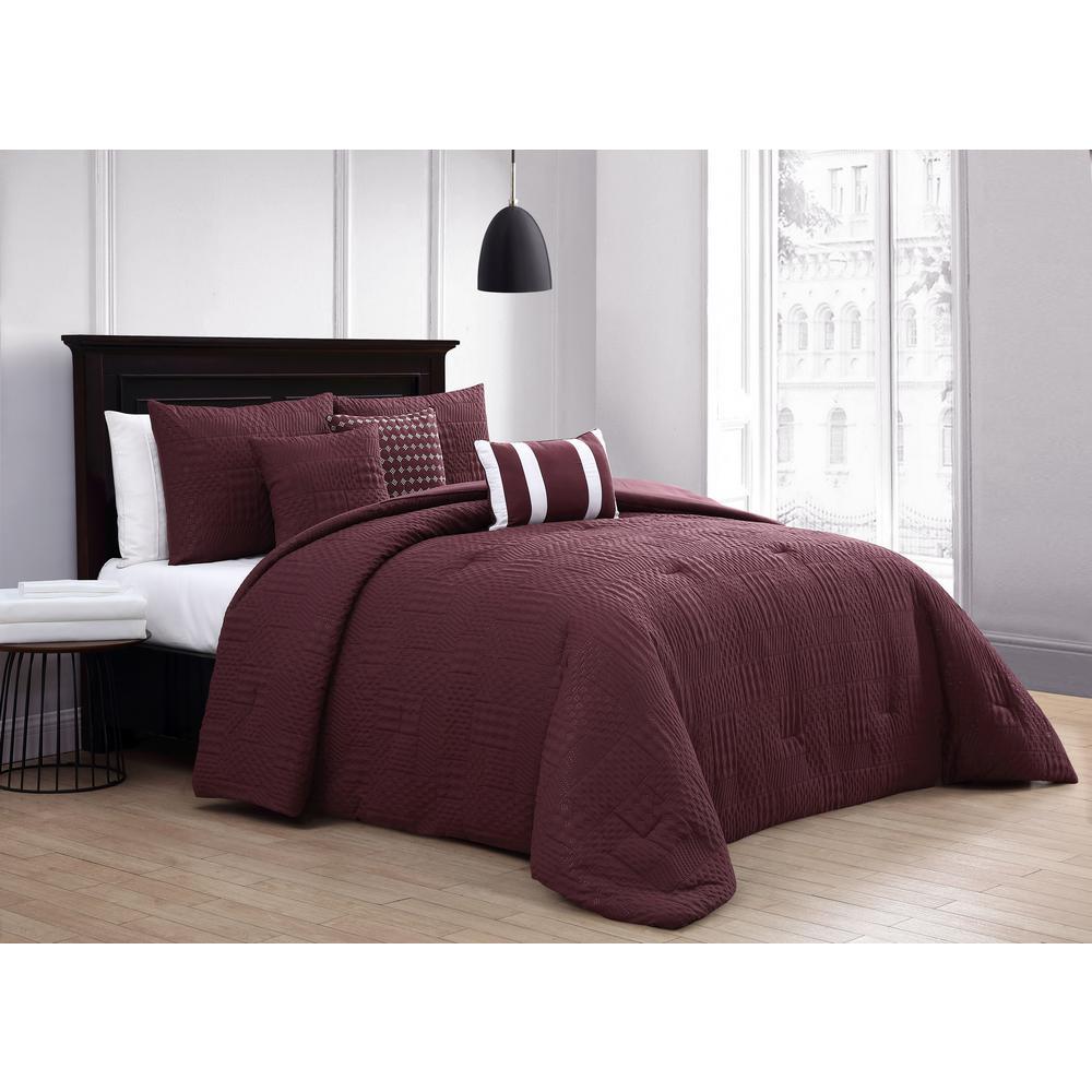 Yardley 10-Piece Embossed Burgundy Queen Comforter Set with Sheet Set