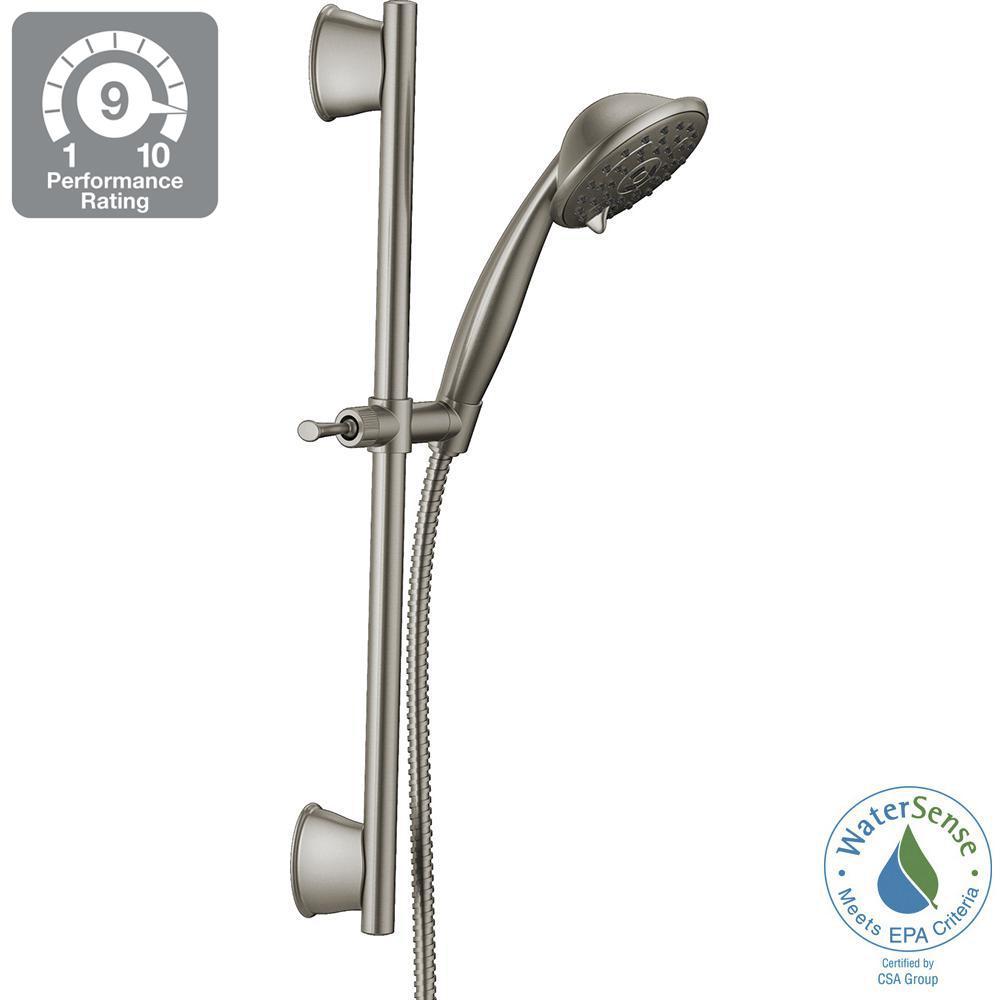 Porter 3-Spray Wall Bar Shower Kit in SpotShield Brushed Nickel