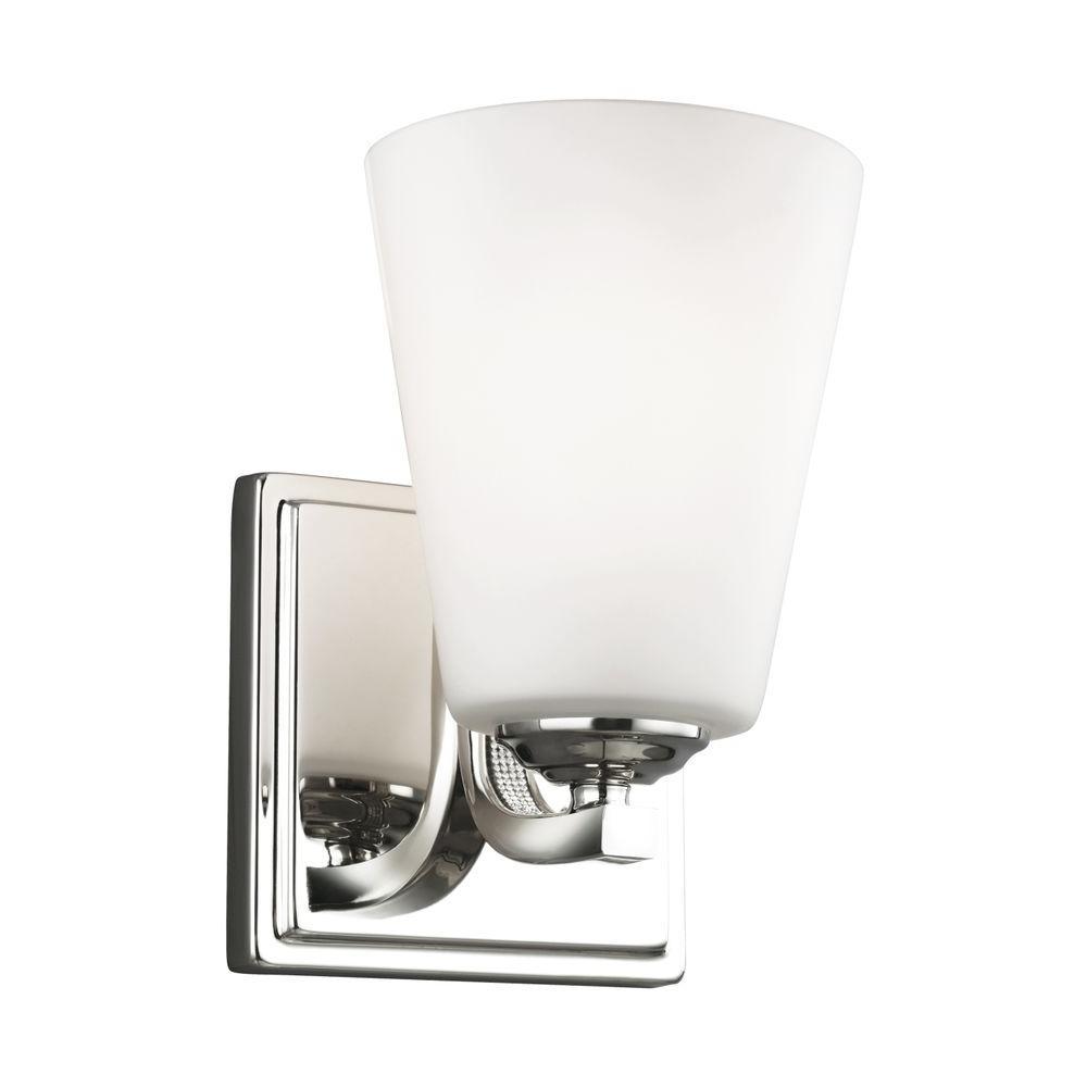 Pave 1-Light Polished Nickel Vanity Light