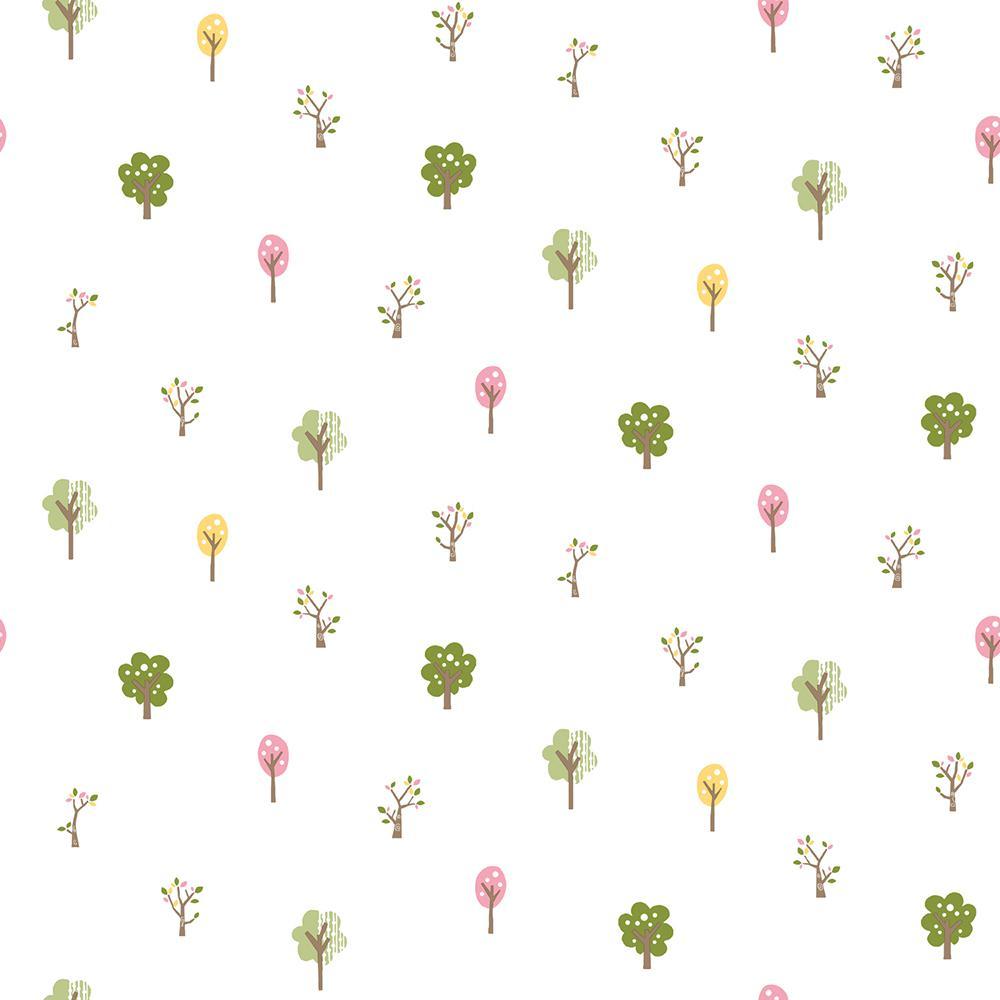 Perennial Pink Arbor Toss Wallpaper, Green
