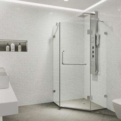 Piedmont 34.125 in. x 73.375 in. Frameless Neo-Angle Hinged Corner Shower Enclosure in Chrome with Clear Glass