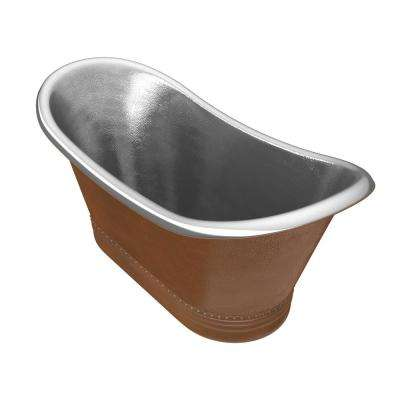 Bali 43 in. Handmade Copper Double Slipper Flatbottom Non-Whirlpool Bathtub in Hammered Antique Copper