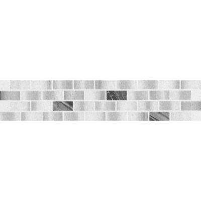 Snow Illusion 2-5/8 in. x 12 in. Marble Decorative Accent Wall Tile