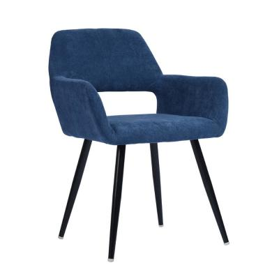 Cromwell Blue Fabric Upholstered Hollow Design Armrest Side Chair
