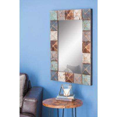 37 in. x 27 in. Rustic Multi-Colored Wood Framed Mirror