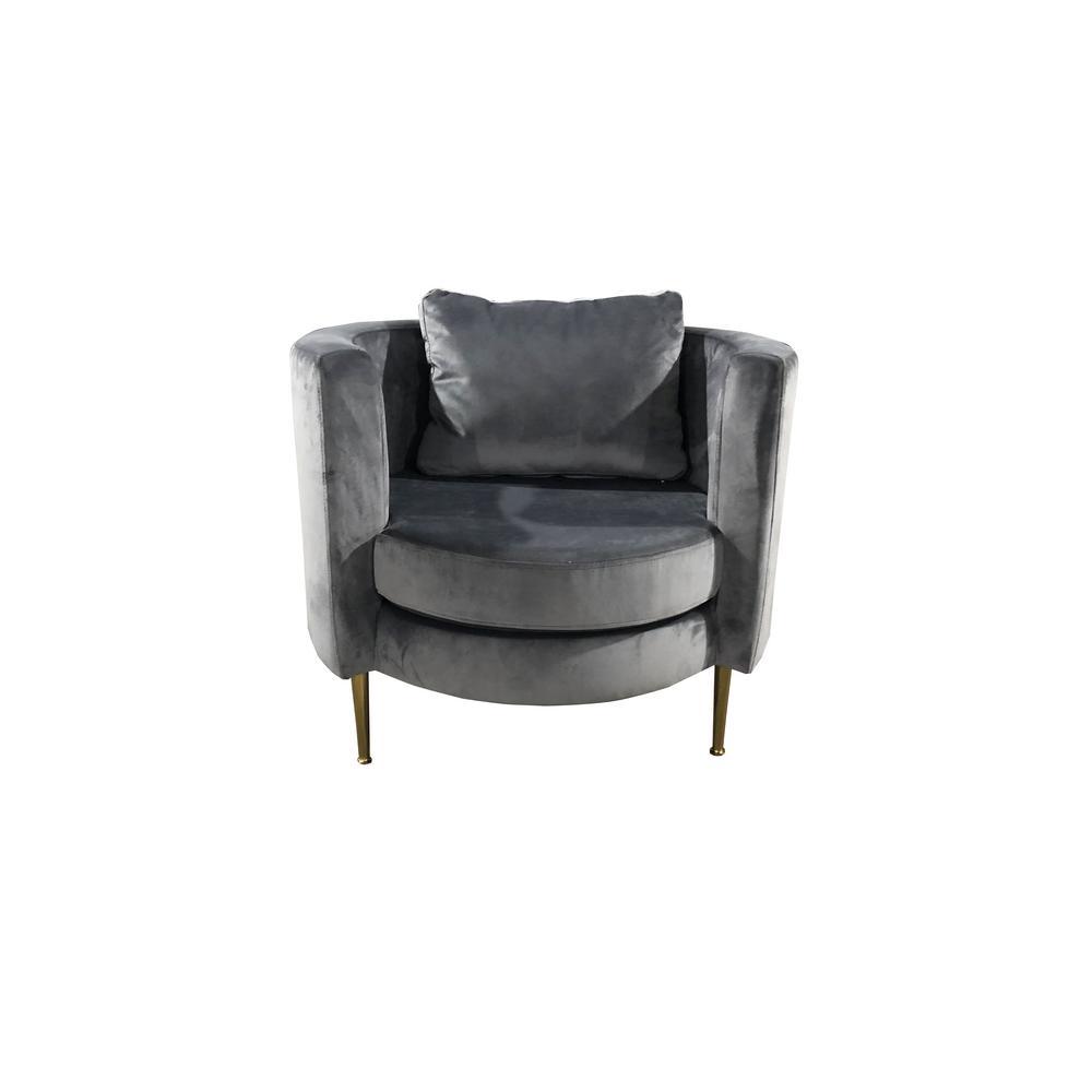 32 in. Accent Popular Grey Velvet Armchair with Pillow