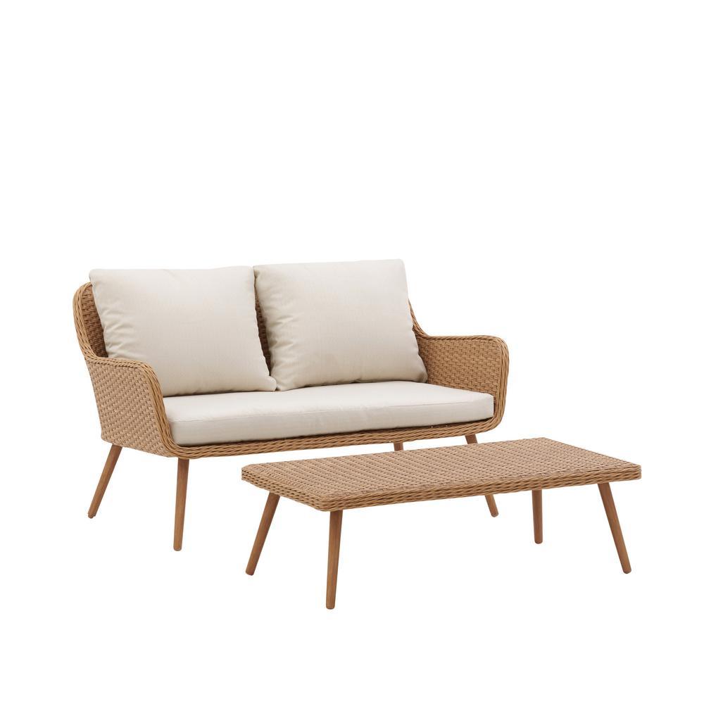 Landon 2-Piece Wicker Patio Loveseat Set with White Cushions