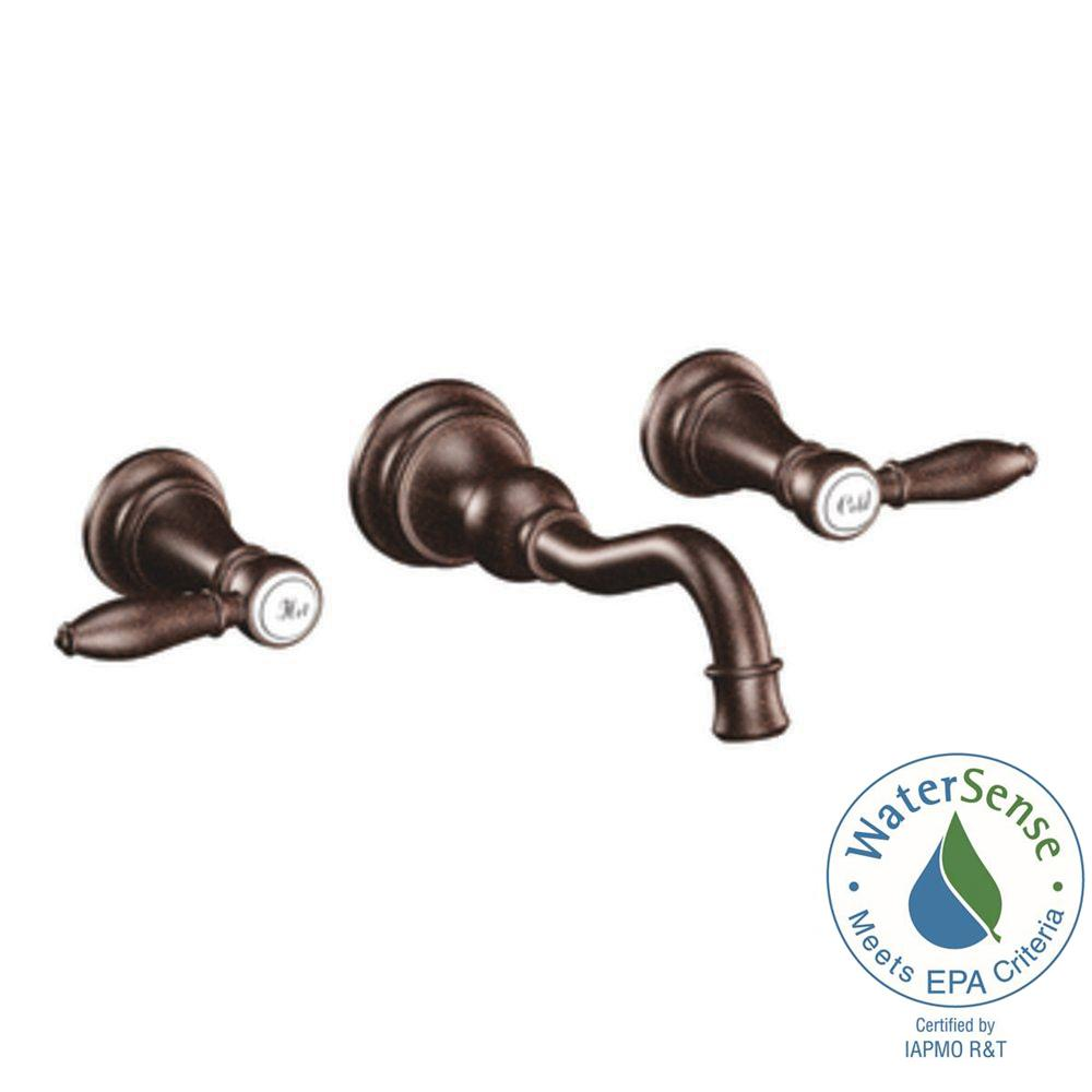 MOEN Weymouth 2-Handle Wall Mount High Arc Bathroom Faucet in Oil Rubbed Bronze (Valve Sold Separately)