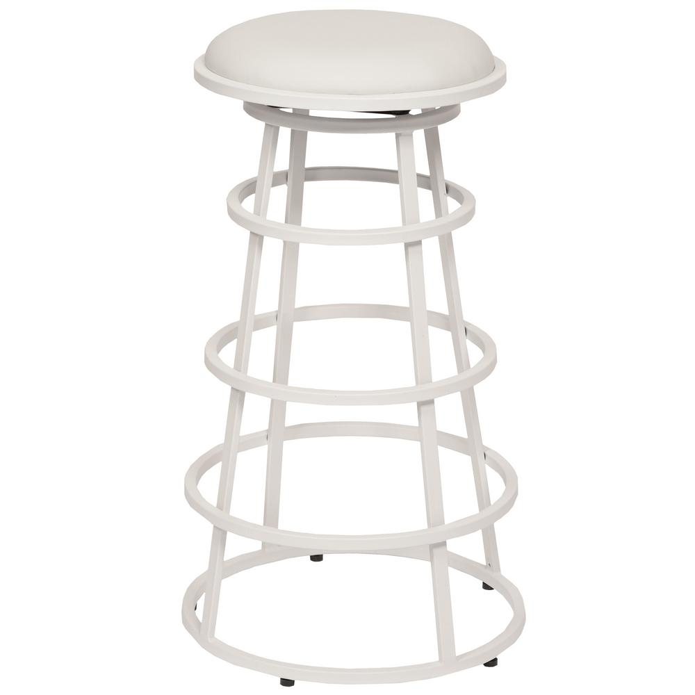 Armen Living Ringo 30 In. White Faux Leather And White Metal Finish  Backless Barstool