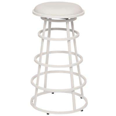 White Faux Leather and White Metal Finish Backless Barstool  sc 1 st  The Home Depot & Modern - Backless - White - Bar Stools - Kitchen u0026 Dining Room ... islam-shia.org