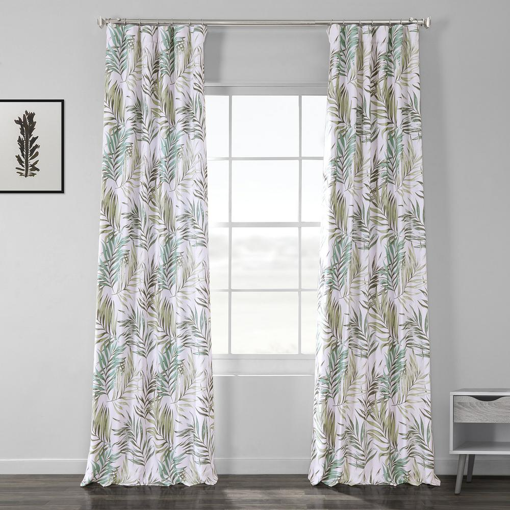 Exclusive Fabrics & Furnishings Palms Green Printed Linen Textured Blackout Curtain - 50 in. W x 120 in. L (1-Panel)