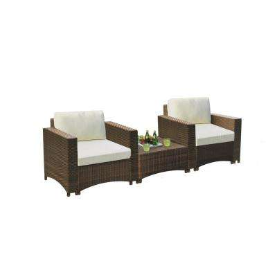 Studio Shine 3-Piece Wicker Outdoor Bistro Set with Chairs and Coffee Table, Beige Color Cushions