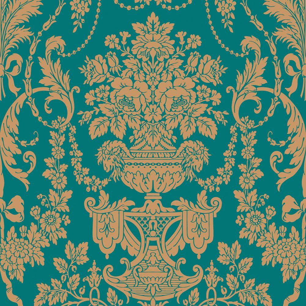 The Wallpaper Company 56 sq. ft. Peacock Damask Wallpaper-DISCONTINUED