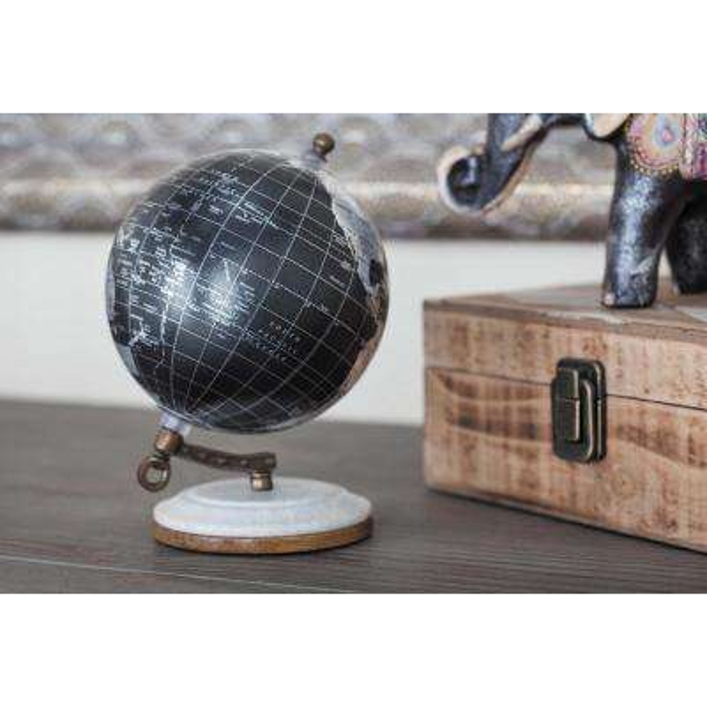 7 in. x 5 in. Modern Decorative Globe in Black and Silver