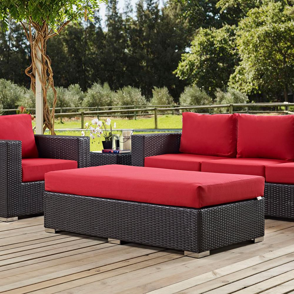 Convene Wicker Outdoor Patio Fabric Rectangle Ottoman in Espresso with Red