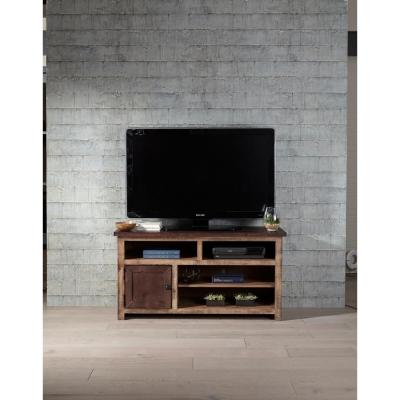 Trilogy 50 in. Light and Dark Pine Wood TV Stand Fits TVs Up to 55 in. with Storage Doors