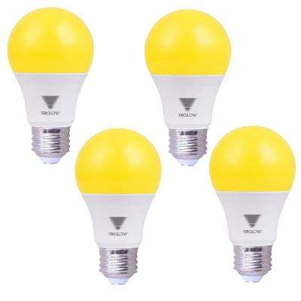 60-Watt Equivalent A19 E26 Standard Medium Base LED Bug Light Bulb, Yellow (4-Pack)
