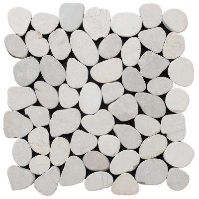 Sliced Mosaic Pebble Tile White 11-1/2 in. x 11-1/2 in. x 9.5 mm Mesh-Mounted Mosaic Tile (10.098 sq. ft. / case)
