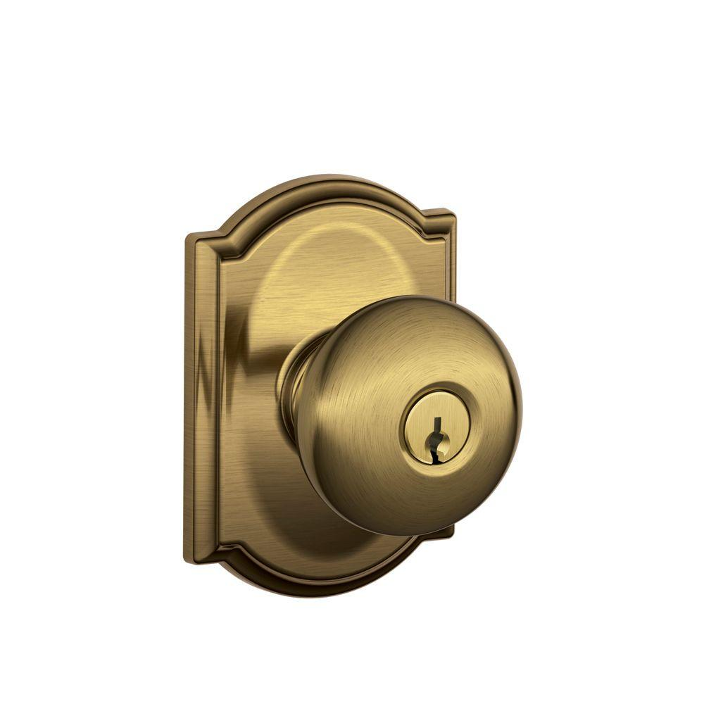 Amazing Camelot Collection Antique Brass Plymouth Keyed Entry Knob