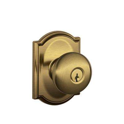 Camelot Collection Antique Brass Plymouth Keyed Entry Knob
