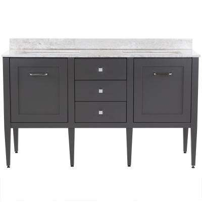 Hensley 61 in. W x 22 in. D Bath Vanity in Shale Gray with Stone Effects Vanity Top in Winter Mist with White Basins