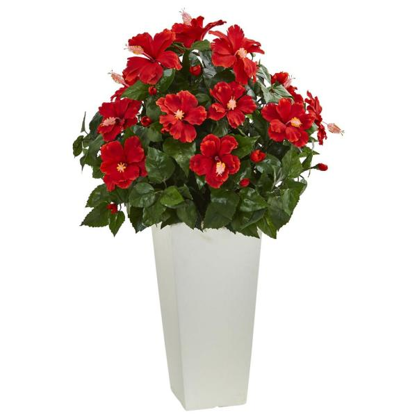 Nearly Natural Hibiscus Artificial Plant in White Tower Planter 6379
