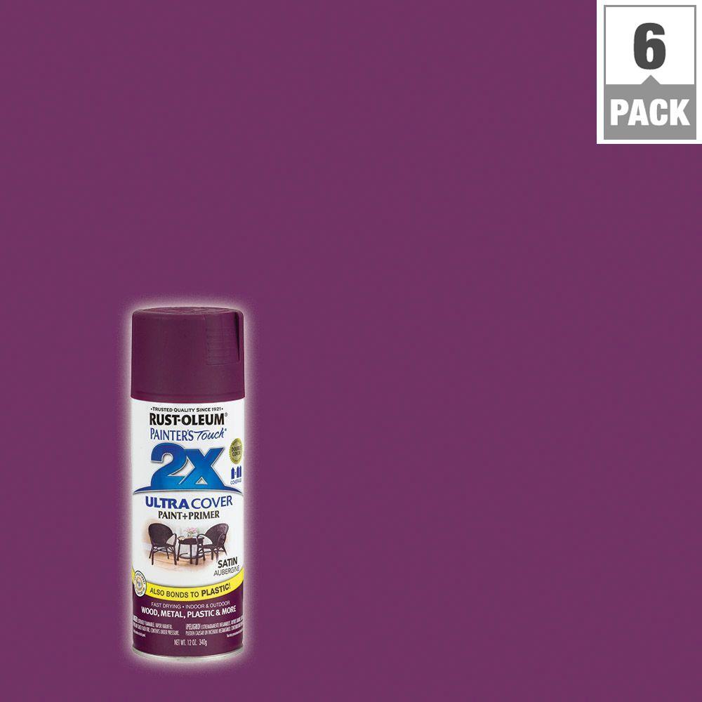 12 oz. Aubergine Satin General Purpose Spray Paint (6-Pack)