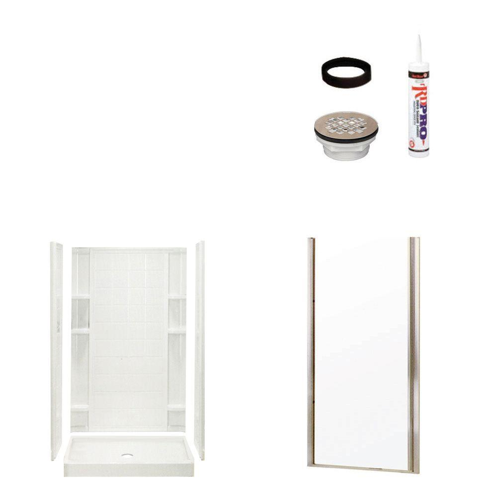 STERLING Ensemble Tile 34 in. x 42 in. x 75-3/4 in. Shower Kit with Shower Door in White/Nickel-DISCONTINUED