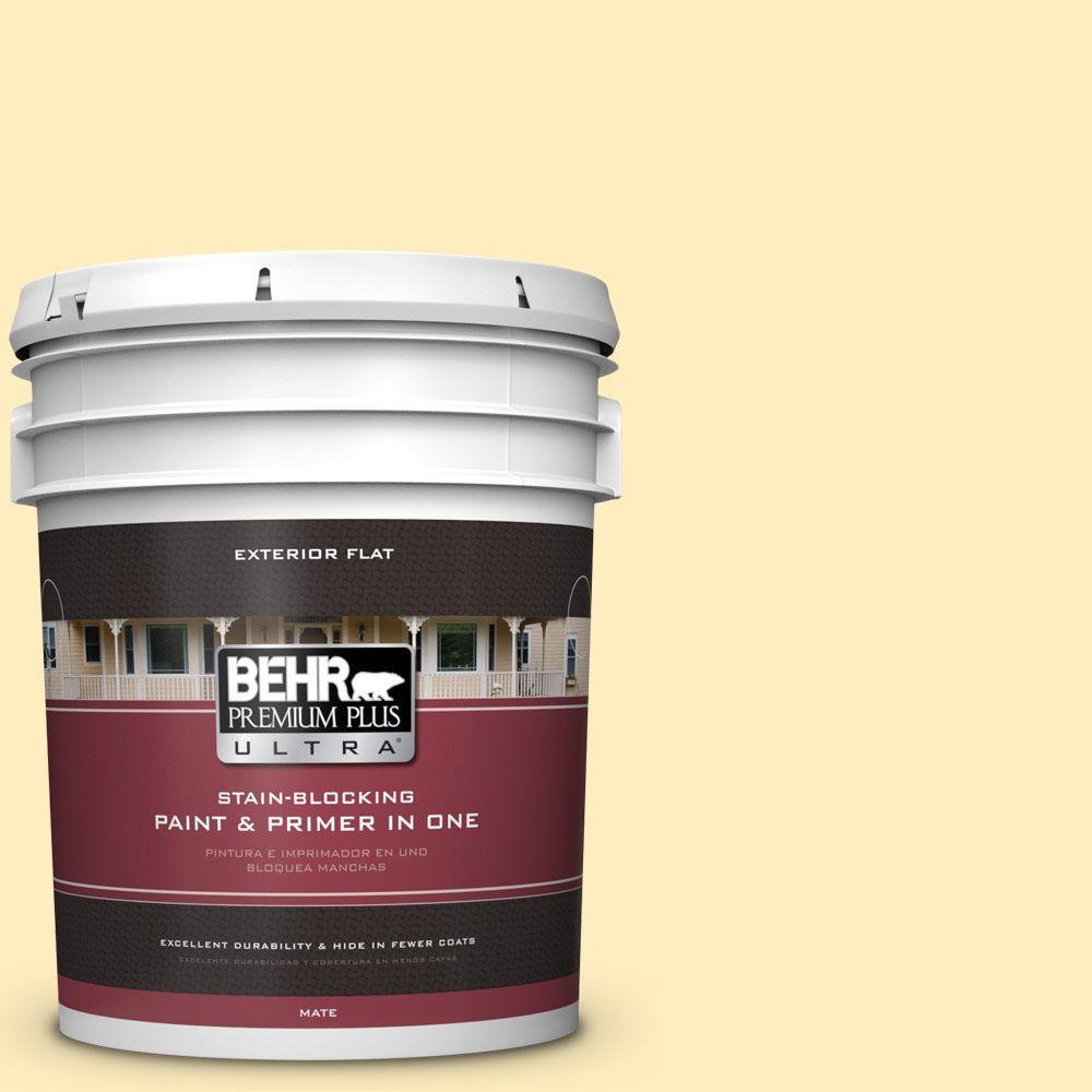BEHR Premium Plus Ultra 5-gal. #P290-1 Soft Buttercup Flat Exterior Paint