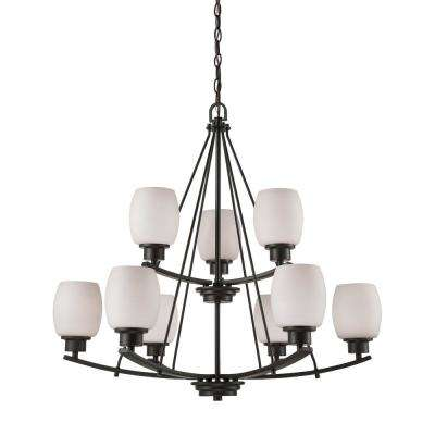 Casual Mission 9-Light Oil Rubbed Bronze Chandelier With White Lined Glass Shades