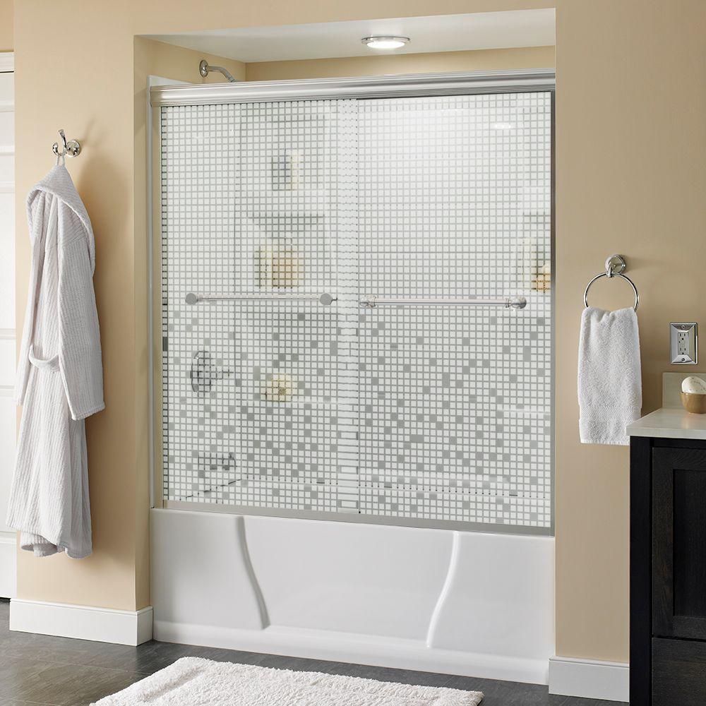 Silverton 60 in. x 58-1/8 in. Semi-Frameless Sliding Bathtub Door in Chrome with Mozaic Glass