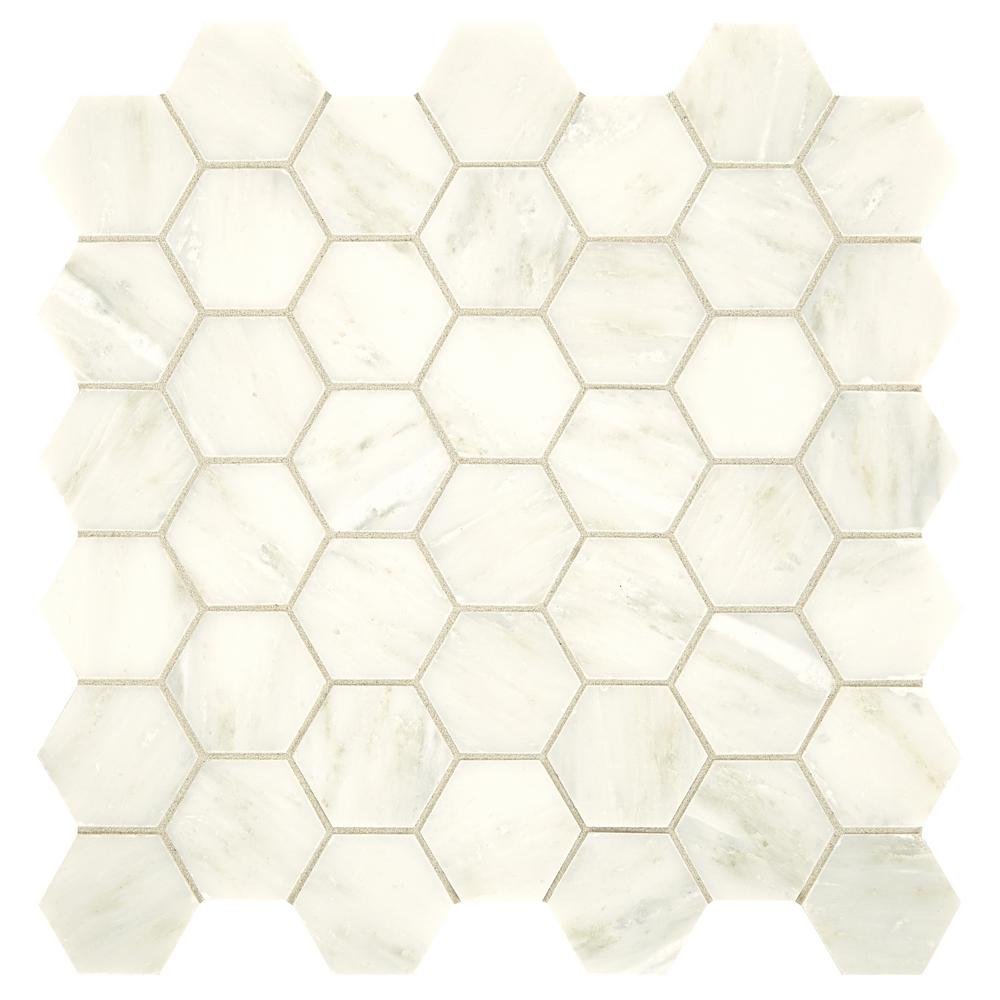 Daltile Premier Accents Cotton Hexagon 12 in. x 12 in. x 8 mm Stone Mosaic Floor and Wall Tile (1 sq. ft. / piece)