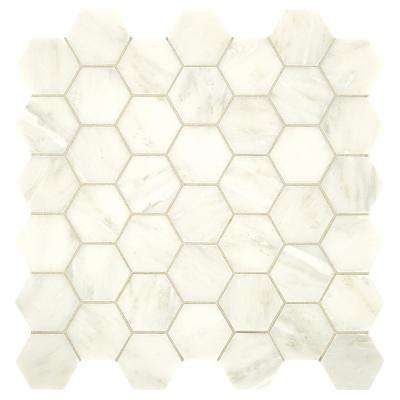 Premier Accents Cotton Hexagon 12 in. x 12 in. x 8 mm Stone Mosaic Tile