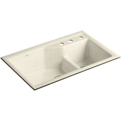 Indio Smart Divide Undermount Cast Iron 33 in. 3-Hole Double Bowl Kitchen Sink Kit in Cane Sugar