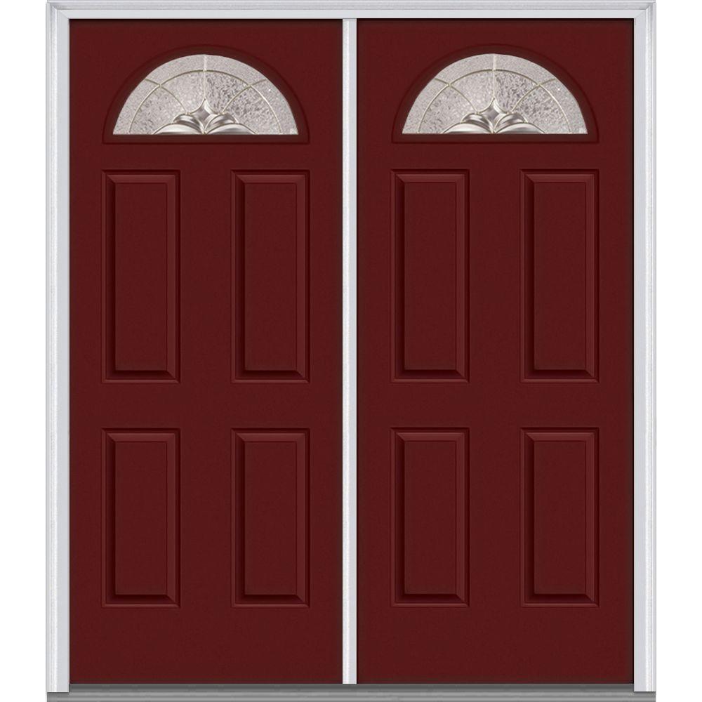 72 in. x 80 in. Heirlooms Left-Hand Inswing Fan Lite Decorative Painted Fiberglass Smooth Prehung Front Door