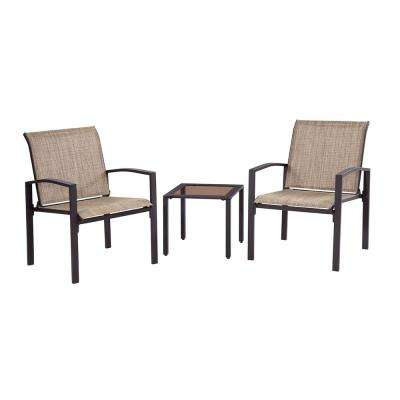 Brown 3-Piece Metal Galveston Outdoor Seating Set