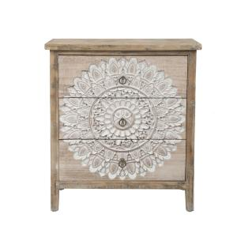 LuxenHome 3-Drawer Wood Medallion Chest Dresser Deals