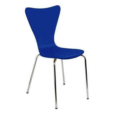 Bent Plywood Blue Stack Chair with Chrome Plated Metal Legs