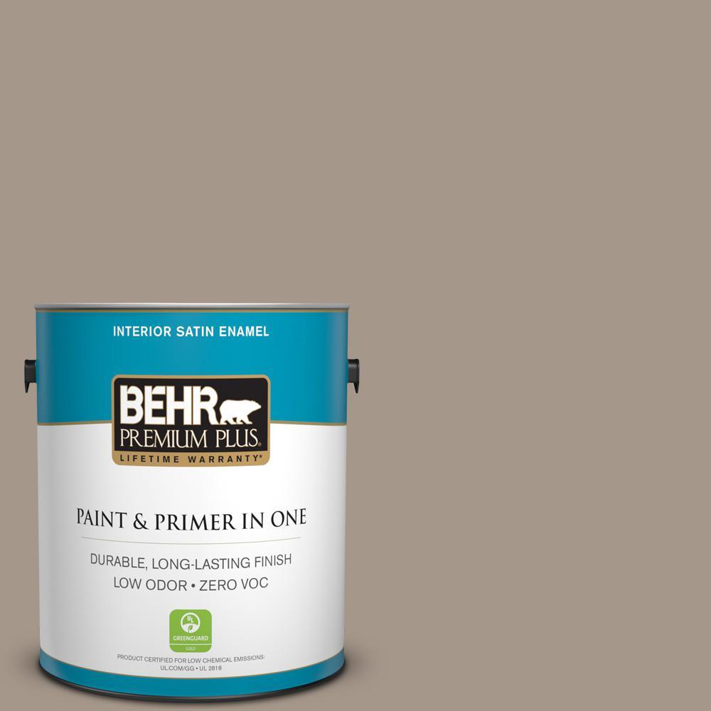1 gal. #PPU5-07 Studio Taupe Zero VOC Satin Enamel Interior Paint