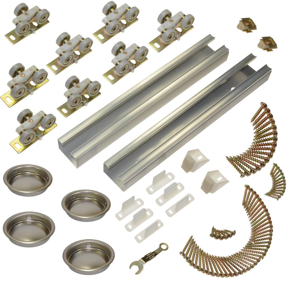 Johnson Hardware 100SD Series 96 in. Track and Hardware Set for 4-Door Bypass Doors