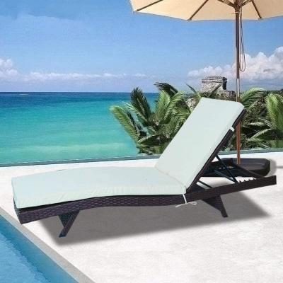 Versailles Black 2-Piece Wicker Outdoor Chaise Lounge with Beige Cushions